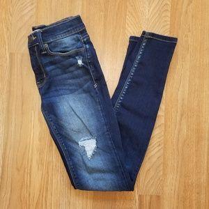 Mudd   Dark-Wash Distressed Skinny Jeans   SZ 1